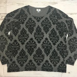 NWOT Old Navy Damask Sweater Grey XXL